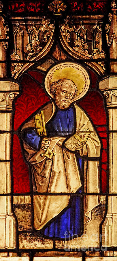 Gothic Glass Art - Saint Peter  Stained Glass by French School