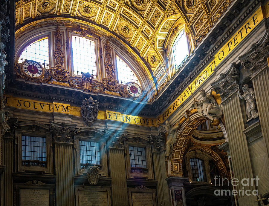 Catholic Photograph - Saint Peters Beams Of Light by Inge Johnsson