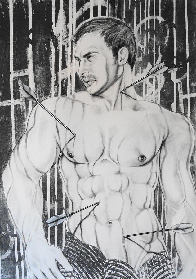 Male Nude Drawing - Saint Sebastian  2 by Carmine Santaniello