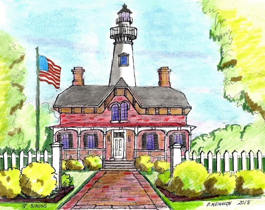 Lighthouse Drawing - Saint Simons Lighthouse by Paul Meinerth