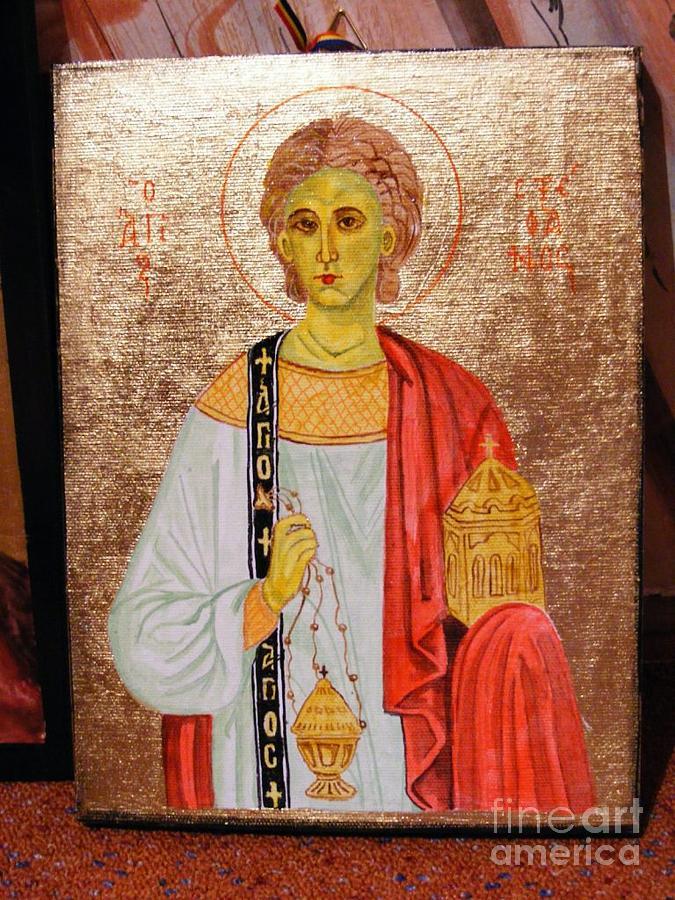 Wood Painting - saint Stephan by Ciocan Tudor-cosmin