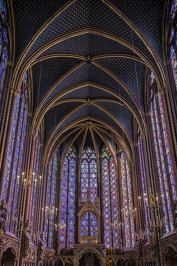 Joan Carroll Photograph - Sainte Chapelle Stained Glass Paris by Joan Carroll