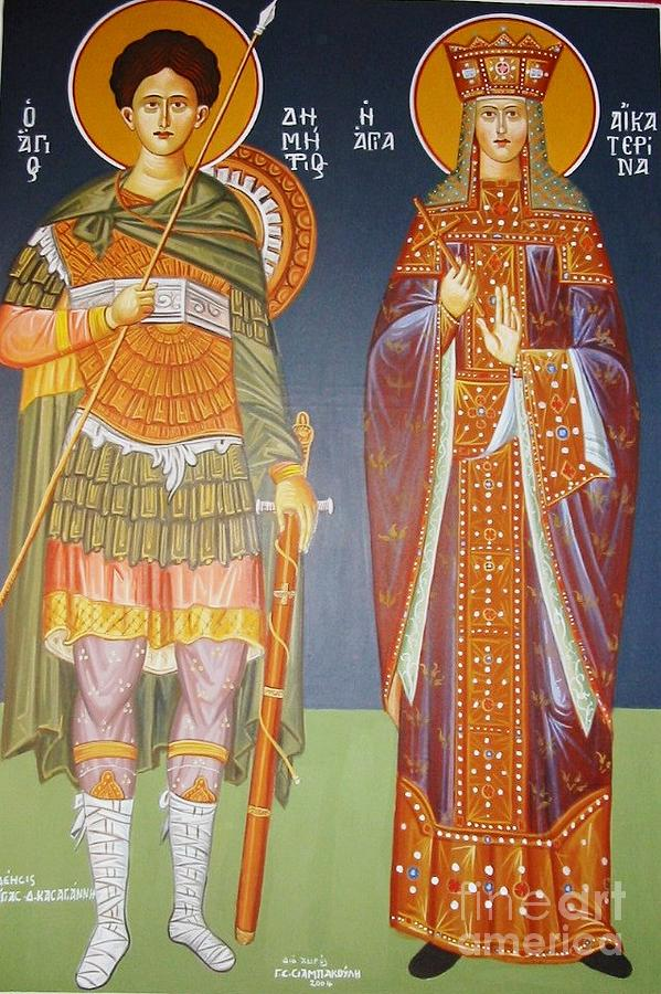 Saints Dimitrius And Aekaterina Painting by George Siaba