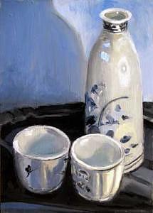 Saki Set Painting by Judith DAgostino