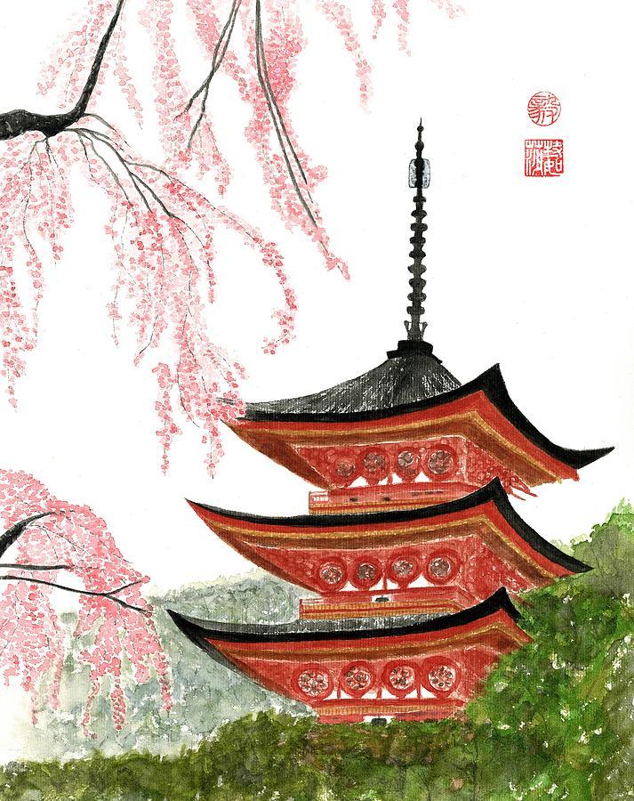 Japanese Painting - Sakura At Gojunoto Pagoda by Terri Harris