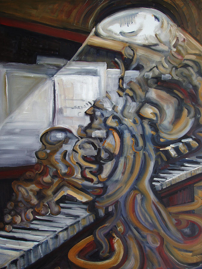 Oil Painting - Sal Maneri On Piano by Robert James Hacunda