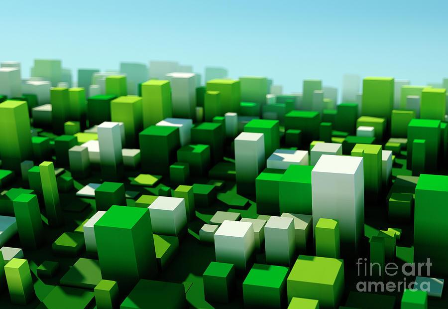 Design Digital Art - Salad Square Variation Pattern Abstract 3D Cityscape DOF by Frank Ramspott