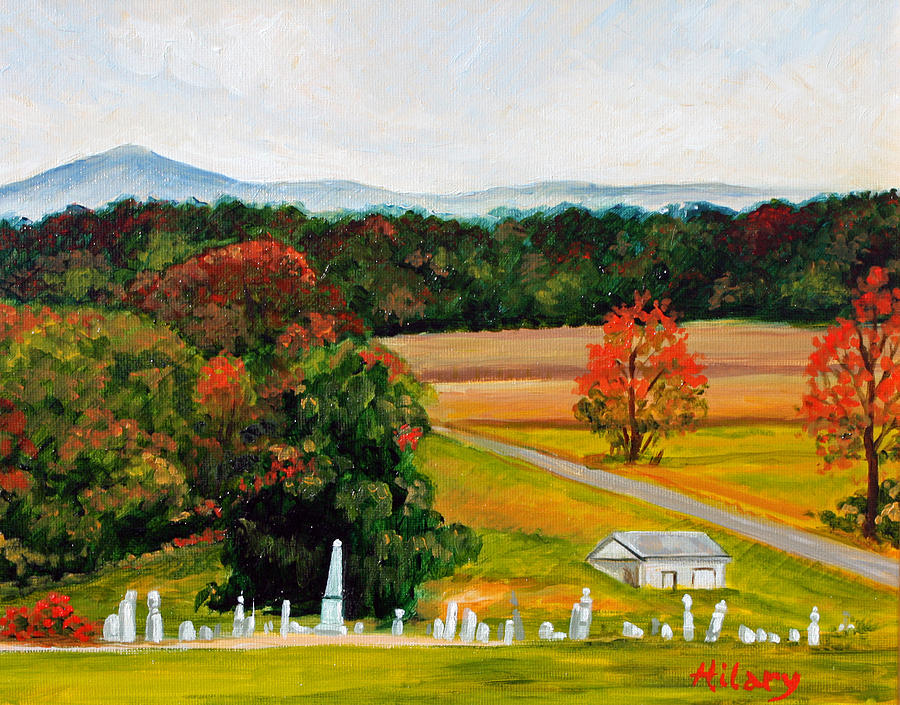 Landscape Painting - Salem Cemetery In October by Hilary England