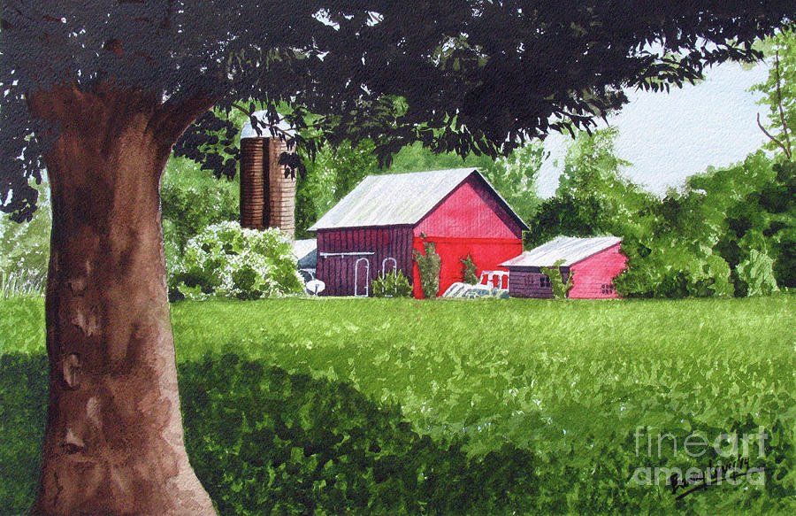 Farm Painting - Salem County Farm, Framed by Barry Levy