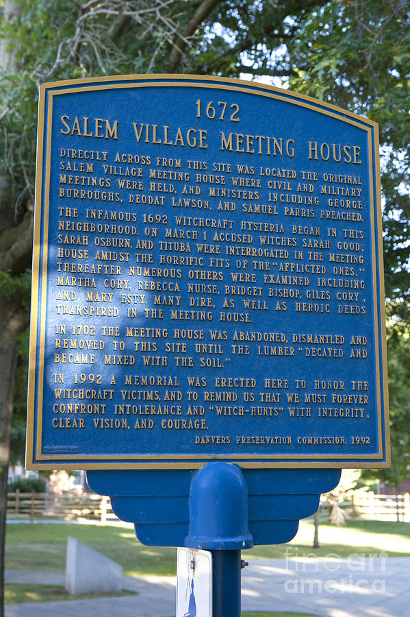 Salem Village Meeting House - 1672 Photograph