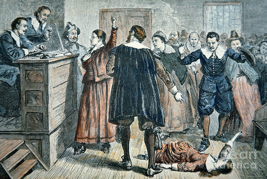 Salem Witch Trials Painting - Salem Witch Trials by American School