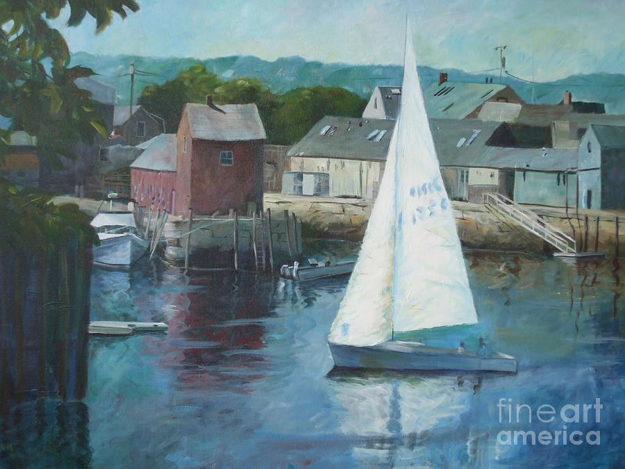 Red Painting - Saling In Rockport Ma by Claire Gagnon