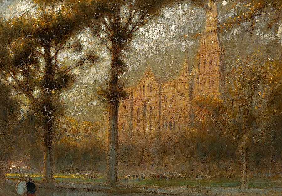 Pen And Ink Painting - Salisbury Cathedral by Albert Goodwin