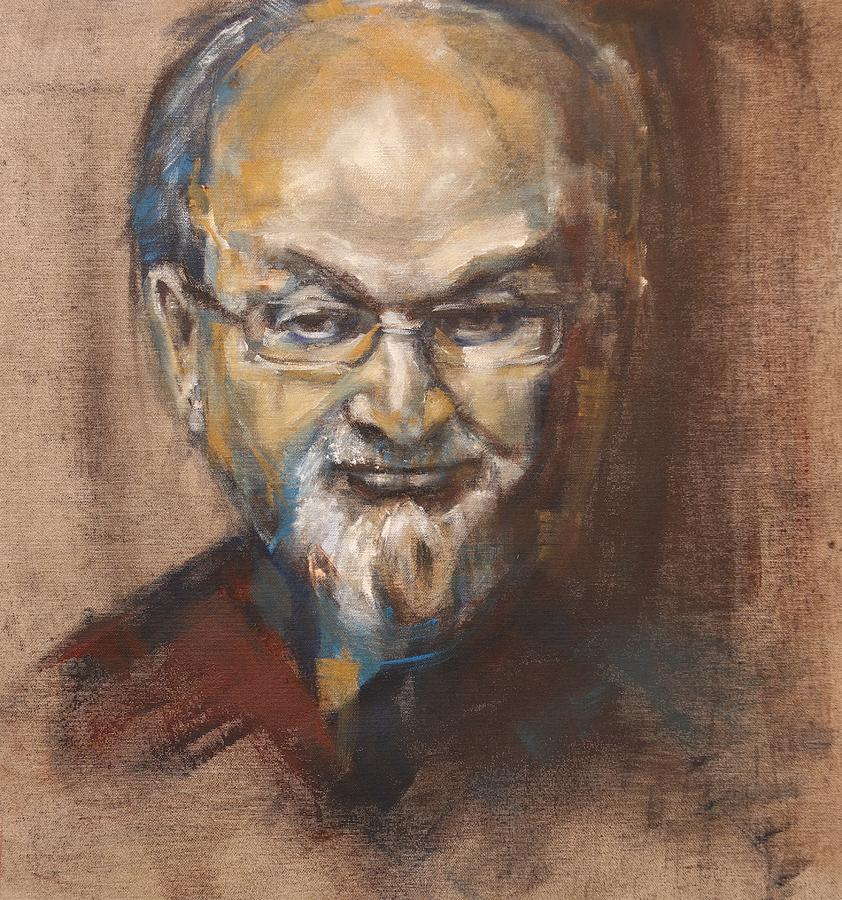 Salman Rushdie portrait by Christel Roelandt