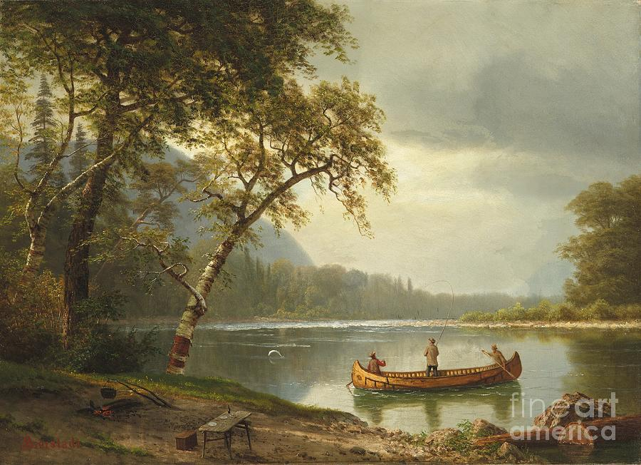River Painting - Salmon fishing on the Caspapediac River by Albert Bierstadt