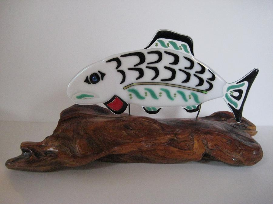 Fused Sculpture - Salmon No1 by Mark Lubich