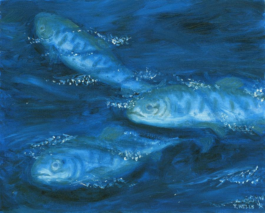 Marine Life Painting - Salmon Swimming by Tanna Lee M Wells
