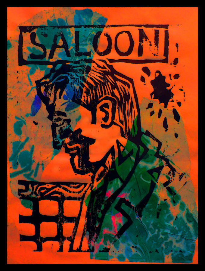 Lino Drawing - Saloon by Adam Kissel