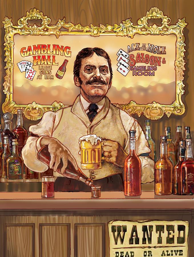 Retro Digital Art - Saloon Keeper by Valer Ian