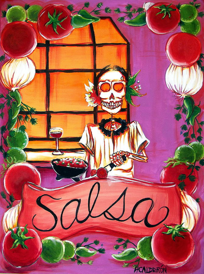 Day Of The Dead Painting - Salsa by Heather Calderon
