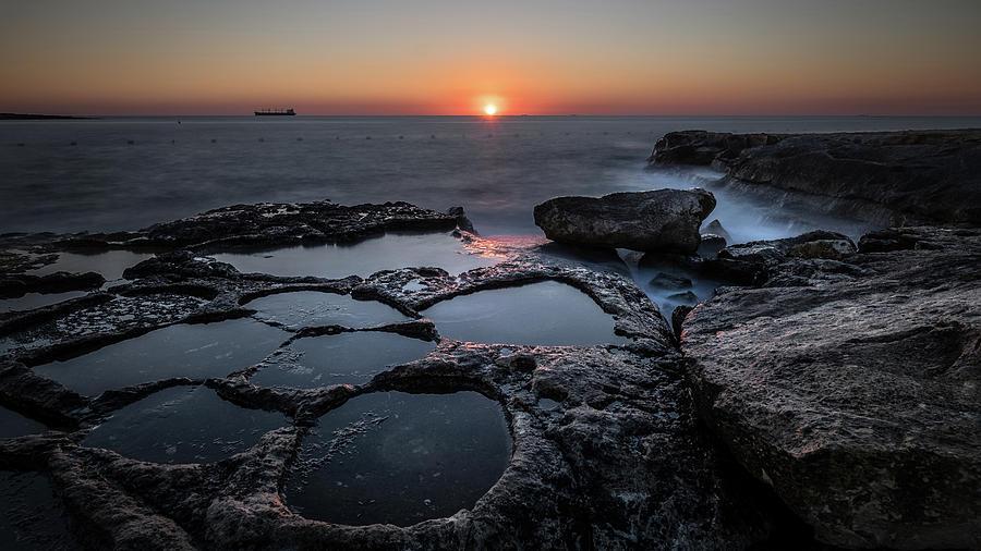Cliff Photograph - Salt Flats - Marsaskala, Malta - Seascape Photography by Giuseppe Milo
