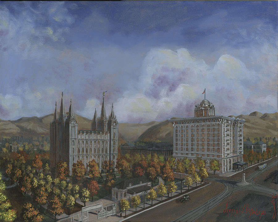 Temple Painting - Salt Lake City Temple Square Nineteen Twelve Right Panel by Jeff Brimley