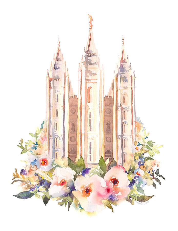 Salt Lake City Temple With Flowers Painting by Tausha Coates