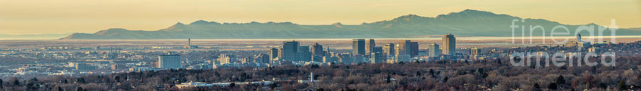 Salt Lake City with Antelope Island by Spencer Baugh