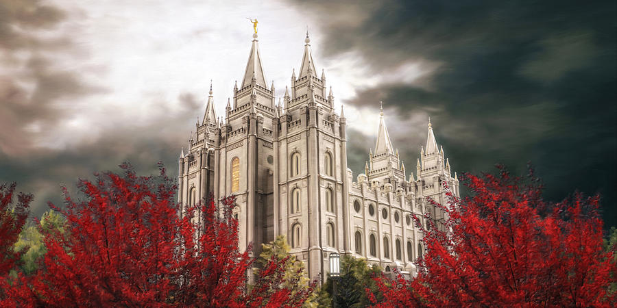 Salt Lake Painting - Salt Lake Temple - A Light in the Storm by Brent Borup