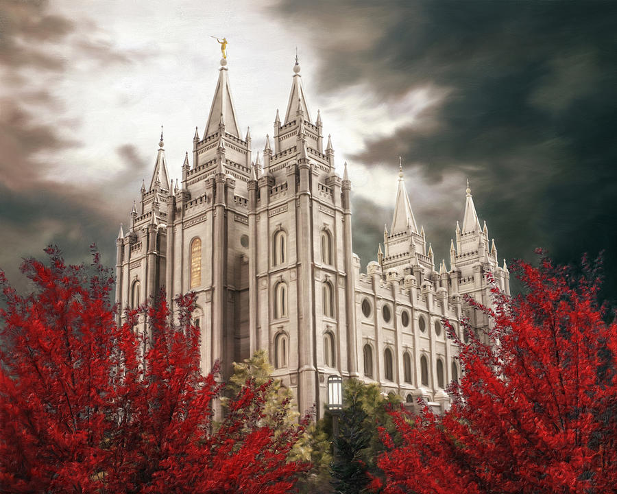 Salt Lake Painting - Salt Lake Temple - A Light in the Storm - cropped by Brent Borup