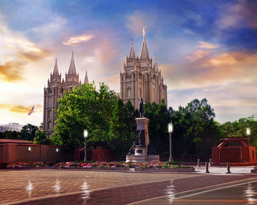 Salt Lake Painting - Salt Lake Temple - After the Storm by Brent Borup