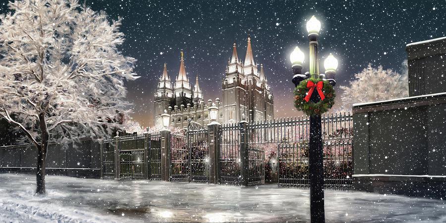 Salt Lake Temple Christmas Lights - Salt Lake Temple Christmas Lights Painting By Brent Borup