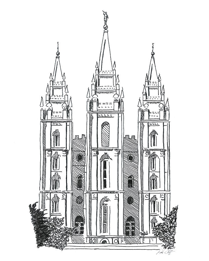 Salt Lake Temple Ink Drawing Drawing by DSC Arts