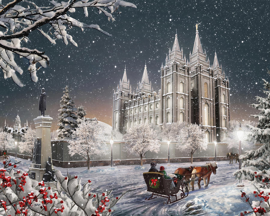salt lake painting salt lake temple old time christmas by brent borup