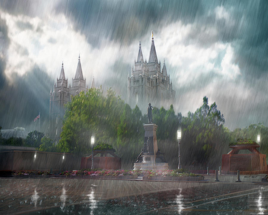 Salt Lake Painting - Salt Lake Temple - Refuge From The Storm by Brent Borup