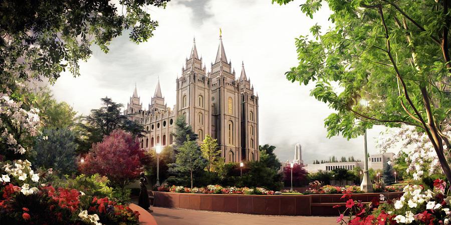 Salt Lake Painting - Salt Lake Temple - Summer by Brent Borup