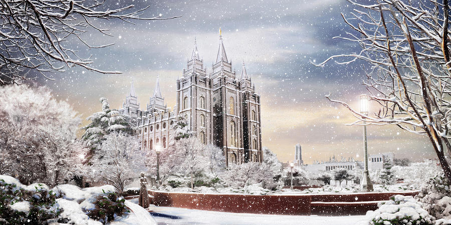 Salt Lake Painting - Salt Lake Temple - Winter by Brent Borup