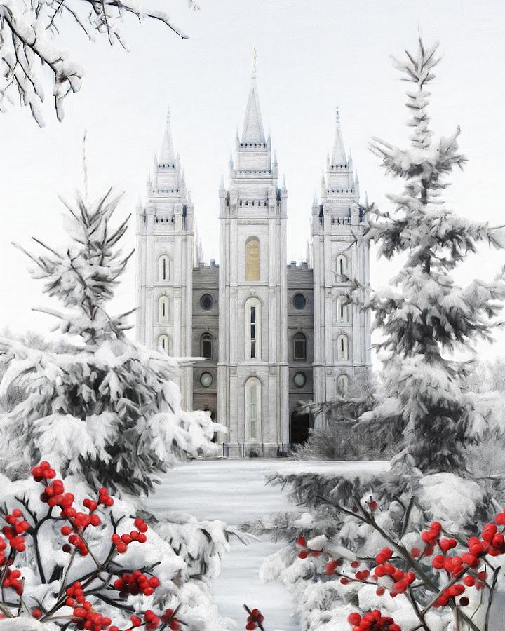 Salt Lake Painting - Salt Lake Temple - Winter Wonderland by Brent Borup