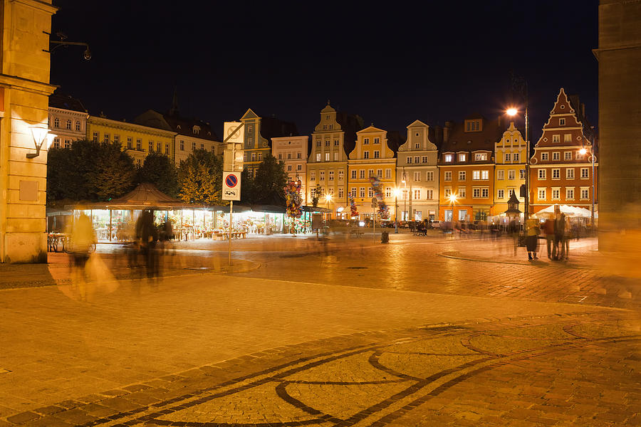 Wroclaw Photograph - Salt Square In Wroclaw At Night by Artur Bogacki