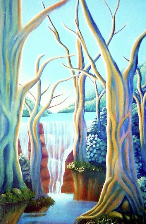 Waterfall Painting - Saltwater Falls 2 by Barbara Stirrup