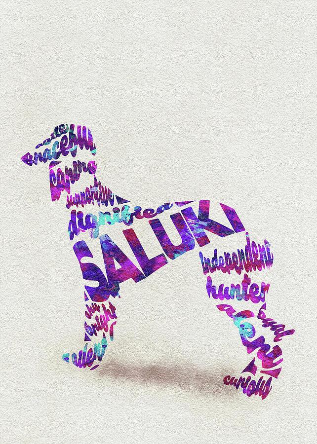 Saluki Painting - Saluki Dog Watercolor Painting / Typographic Art by Inspirowl Design