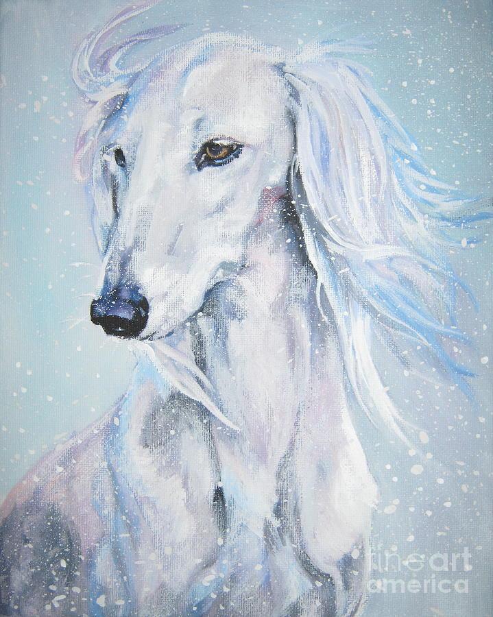 Dog Painting - Saluki White Beauty by Lee Ann Shepard