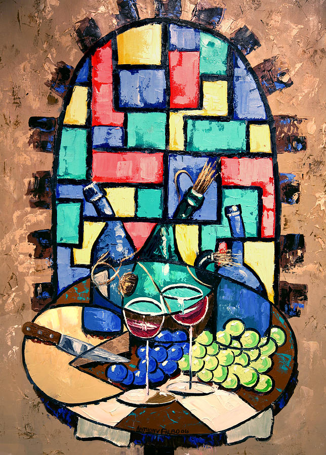 Salute Happy Hour In Tuscany Framed Prints Painting - Salute Happy Hour In Tuscany by Anthony Falbo