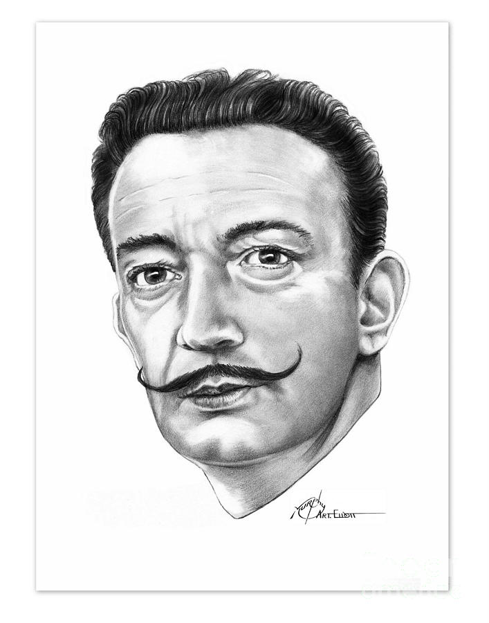Salvador Dali Drawing - Salvador Dali by Murphy Elliott