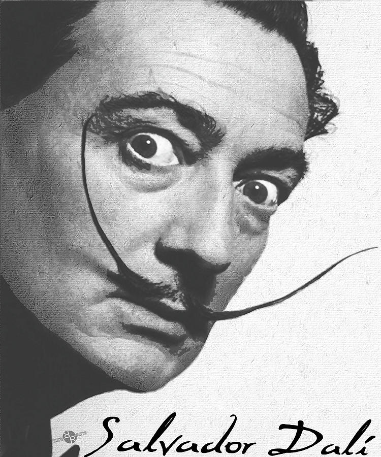 Salvador Dali Realistic Painting With Signature In Black And White Painting