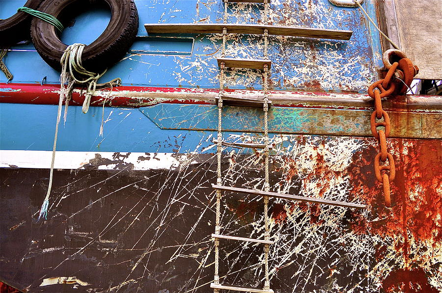 Fishing Boat Photograph - Salvage  by Mark Lemon