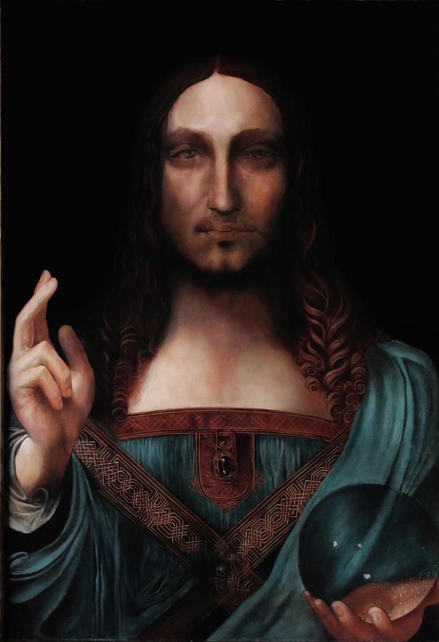 Salvator Mundi Leonardo Hd >> Salvator Mundi After Leonardo Da Vinci Painting by Massimo Tizzano