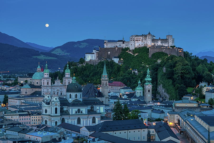 Europe Photograph - Salzburg City With Hohensalzburg Fortress, Salzburger Land, Austria by Elenarts - Elena Duvernay photo