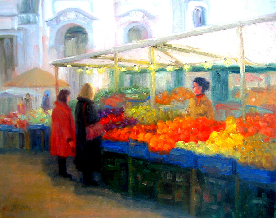 Market Painting - Salzburg Shoppers by Bunny Oliver