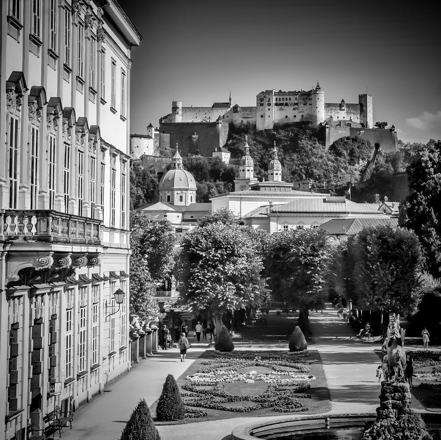 Ancient Photograph - Salzburg Wonderful View To Salzburg Fortress Monochrome by Melanie Viola